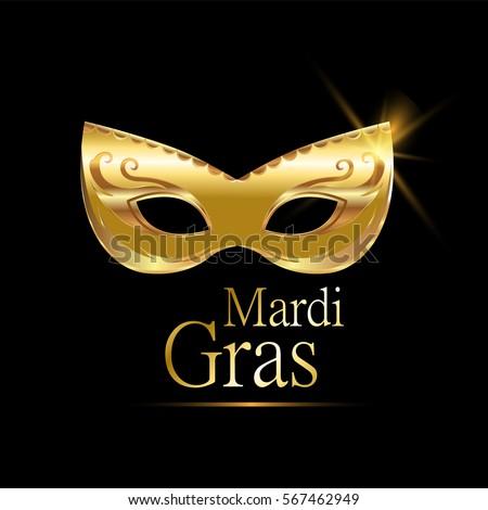 Golden Carnival Mask Masquerade Mardi Gras Stock Vector 382985782 ...