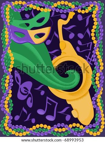 Mardi Gras jazz festival - stock vector