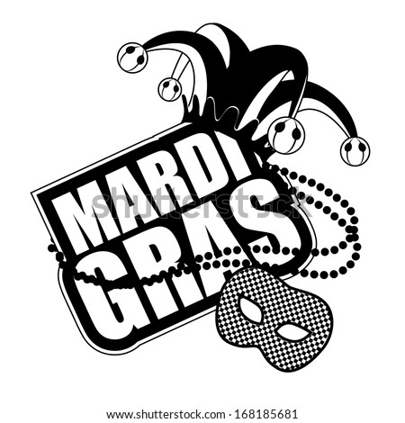 Mardi Gras Mask Icon in black and white. EPS 10 vector, grouped for easy editing. No open shapes or paths.  - stock vector