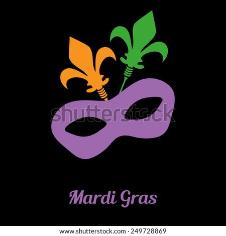 Mardi gras mask on black background - stock vector