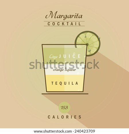margarita cocktail drink recipe vector illustration in trendy retro flat design style - stock vector