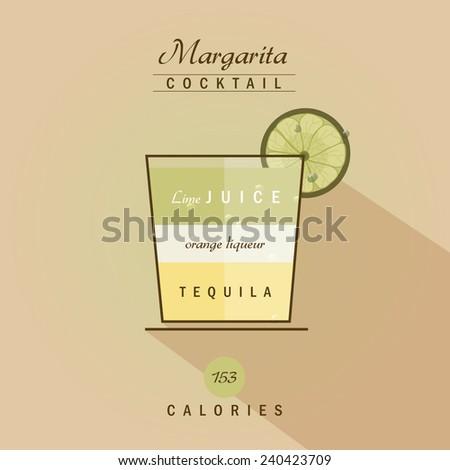 margarita cocktail drink recipe vector illustration in trendy retro flat design style - stock vector