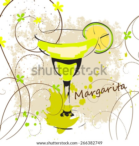 Margarita cocktail sketch - stock vector