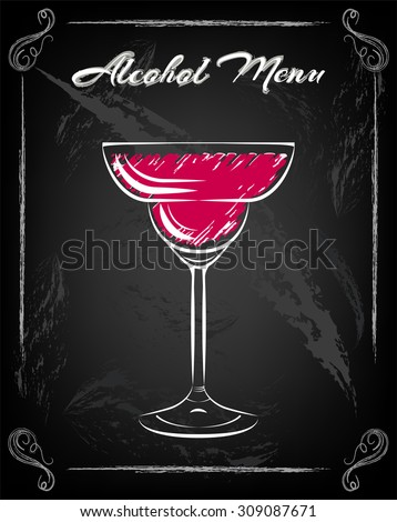 Margarita, Drinking Glass, Cocktail, on chalk boad
