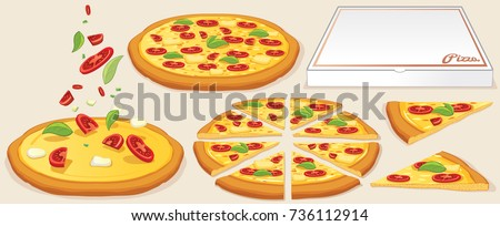 Margarita Pizza Kit Traditional Ingredients Box Whole And Slice Pizzas Vector