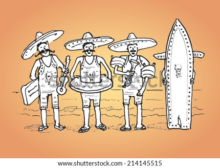 Mariachi band dressed in swimming costumes at the beach - hand drawn vector sketch - stock vector