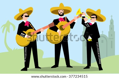 Mariachi Band in Sombrero with Guitar. Mexican Music Band. Music group in traditional costumes of Mexico. Mariachi vector. Isolated mariachi. Three mariachi. Mariachi group. Mexican musician mariachi - stock vector