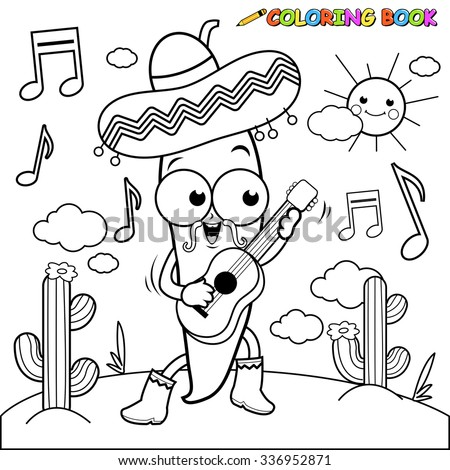 Mariachi chili pepper playing the guitar coloring page. - stock vector