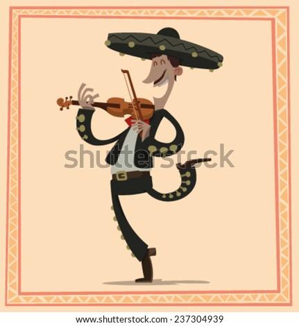 Mariachi with a violin, vector - stock vector