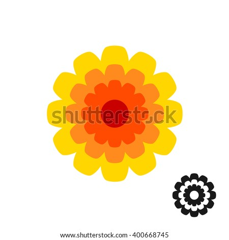 Marigold calendula flower top view logo. Black version included. - stock vector