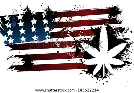 Marijuana American Flag Stock Vector 143622214