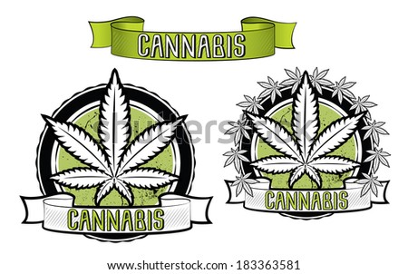 marijuana and ganja symbol vector badge - stock vector
