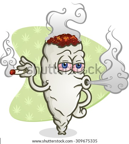 Marijuana Blowing Cannabis Smoke Cartoon Character