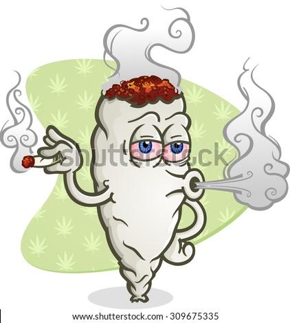 Marijuana Blowing Cannabis Smoke Cartoon Character - stock vector