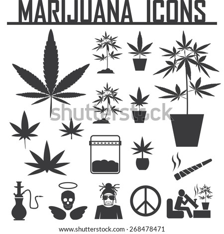 marijuana, Cannabis icons. vector illustration eps 10. - stock vector