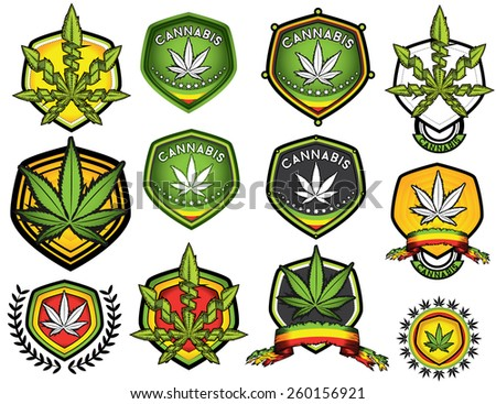 marijuana cannabis leaf jamaican style stamps - stock vector