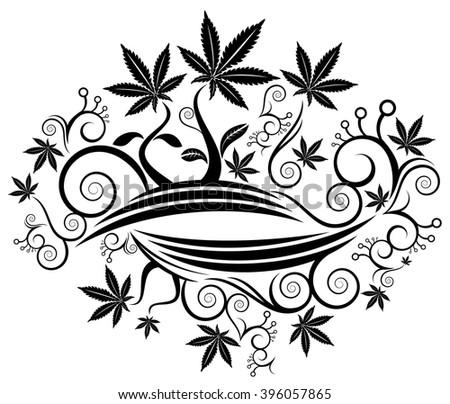 Marijuana cannabis leaf texture background vector illustration - stock vector