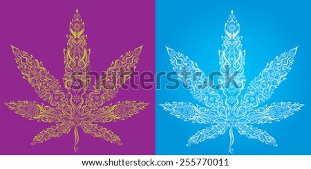 Marijuana cannabis textured leaf symbol vector - stock vector
