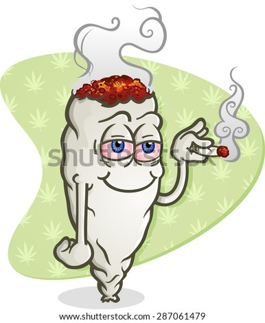 Marijuana Cartoon Character Smoking a Joint - stock vector