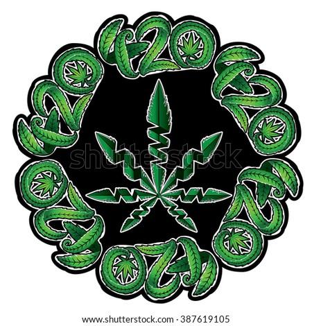 Marijuana green leaf symbol stamps vector illustration - stock vector