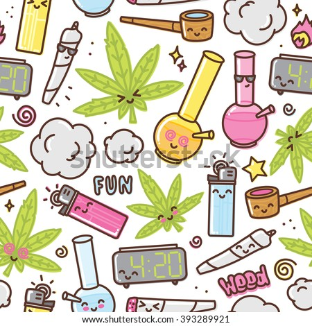 Marijuana kawaii cartoon seamless vector pattern white