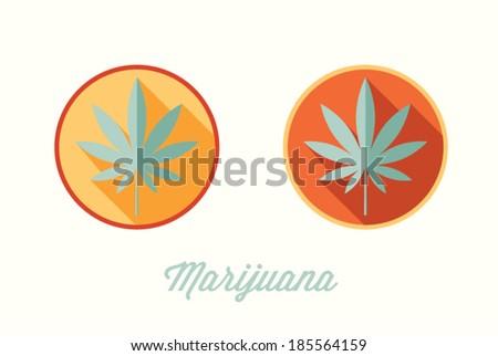 Marijuana leaf, cannabis, flat style - stock vector