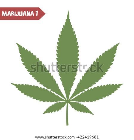 Marijuana leaf. Medical marijuana. Marijuana plant. Cannabis plant. Medical cannabis leaf. Isolated on white. Graphic design element for printables, web, prints, t-shirt. Vector illustration. - stock vector