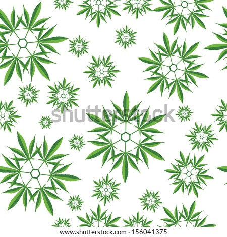Marijuana leaf snowflake symbol seamless pattern vector illustration - stock vector