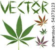 marijuana leafs vectors against white background, abstract art illustration - stock photo
