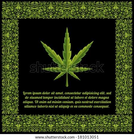 Marijuana leaves floral text frame vector illustration - stock vector