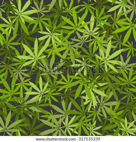 marijuana leaves seamless background. vector illustration - eps 8 - stock vector