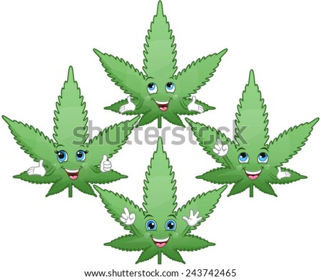 Marijuana leaves with different face expressions. - stock vector
