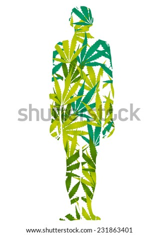 marijuana man - stock vector