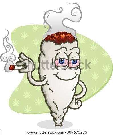 Marijuana Smoking a Joint Cartoon Character - stock vector