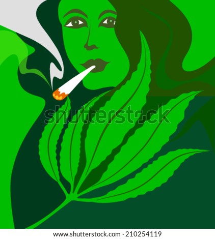 marijuana smoking woman - stock vector