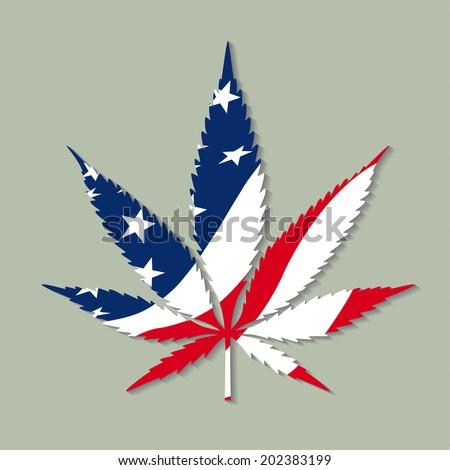 Marijuana symbol with the USA flag colors. - stock vector