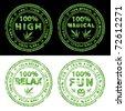 Marijuana vector stamps - stock vector