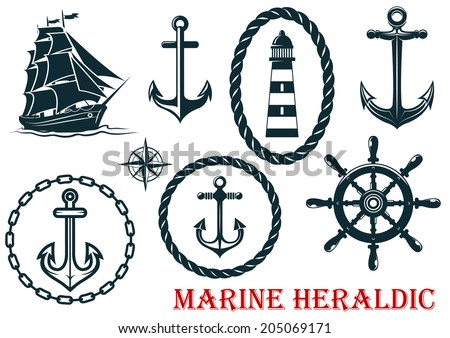 Marine and nautical heraldic and logo elements - ropes, lighthouse, anchors, sheep and steering wheel - isolated on white - stock vector