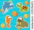 marine animals icon set - stock vector