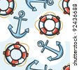 Marine background with anchor and lifebuoy - stock vector