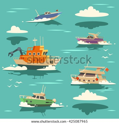 Marine background with ships. Vector illustration. - stock vector