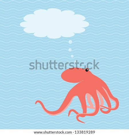 Marine card with octopus and place for text - stock vector