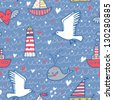 Marine concept seamless pattern. Whale, boat, ship, lighthouse, seagull in funny cartoon background in vector - stock vector
