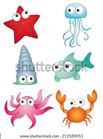 marine creatures - stock vector