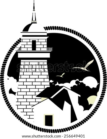 Marine emblem with a lighthouse on a round shaped black and white colors