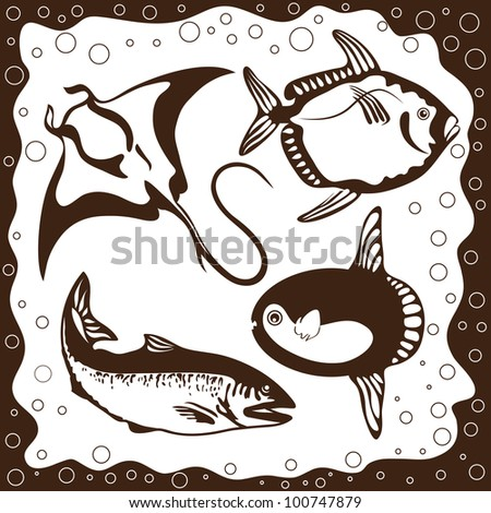 Marine fishes, silhouettes set, vector illustration - stock vector