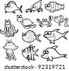 Marine fishes, vector illustration - stock vector