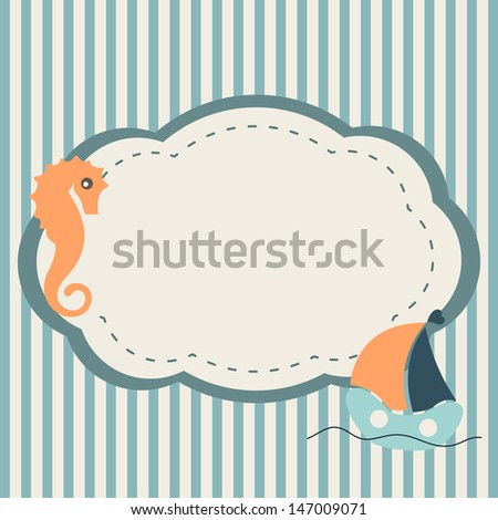 Marine frame with seahorse and boat on striped background - stock vector