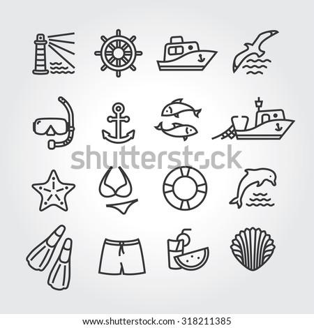 Marine icon, logo, logotype - dolphin, lighthouse, seagull, bird, boat, ship, fishing,  fish, anchor, starfish, swimsuit, shorts, fins, steering wheel, lifebuoy, watermelon, cocktails, shell - stock vector