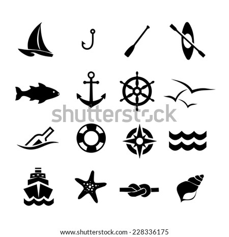 Marine icon set vector - stock vector